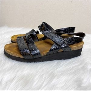 NAOT Black Embossed Sandals Size 6